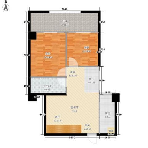 御笔华章2室1厅1卫1厨103.00㎡户型图