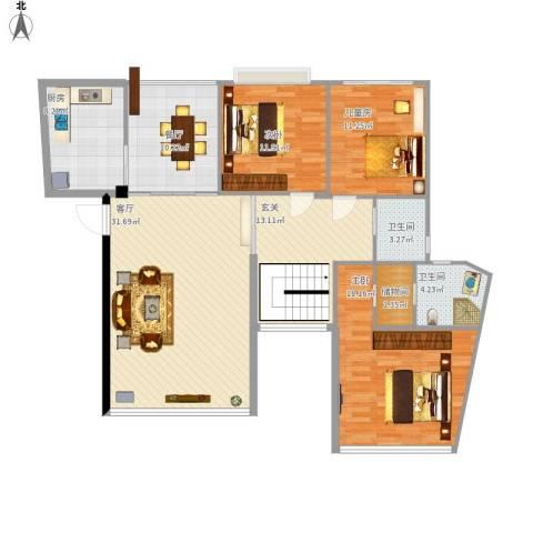 中天阳光美地3室2厅2卫1厨156.00㎡户型图