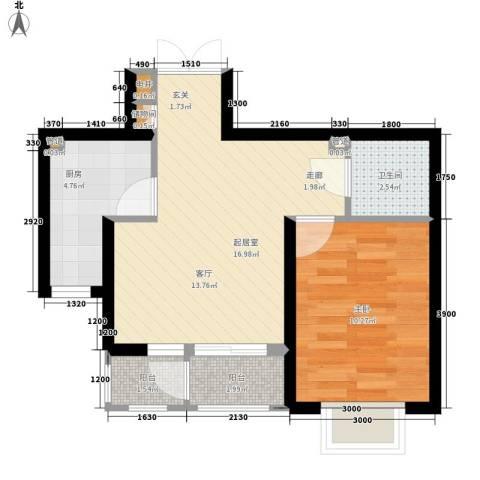 金色锦城1室0厅1卫1厨52.00㎡户型图