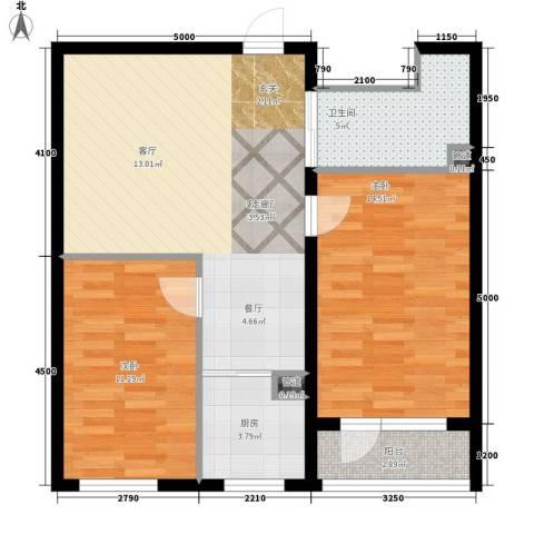 万嘉国际2室1厅1卫1厨87.00㎡户型图