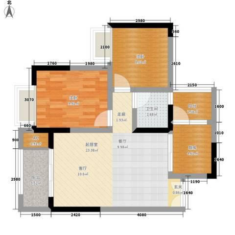 恒春凤凰城2室0厅1卫1厨78.00㎡户型图