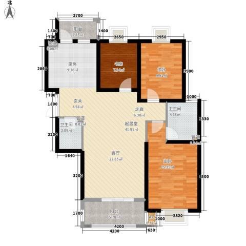 金色锦城3室0厅2卫0厨92.00㎡户型图