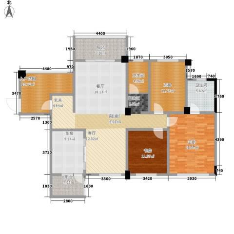 南郡明珠3室1厅2卫1厨146.00㎡户型图