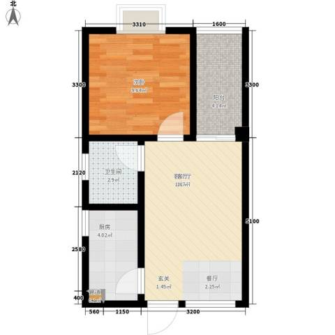 南郡明珠1室1厅1卫1厨49.00㎡户型图