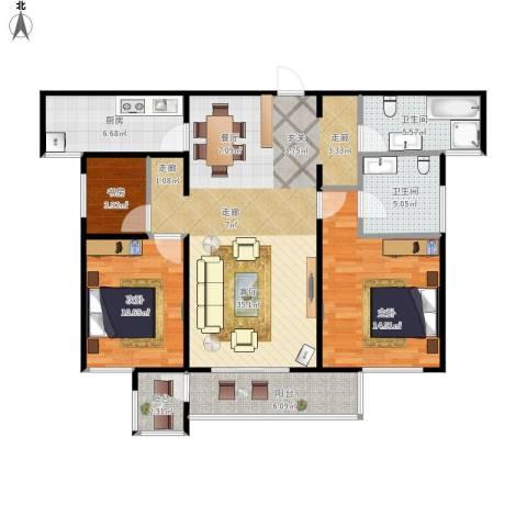 高尔夫国际花园3室1厅2卫1厨124.00㎡户型图
