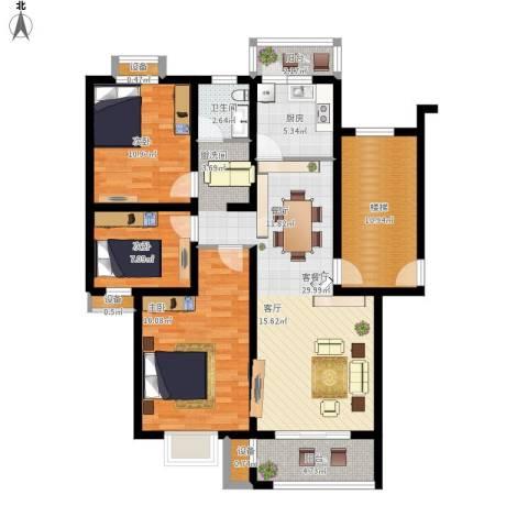 高尔夫国际花园3室1厅1卫1厨134.00㎡户型图