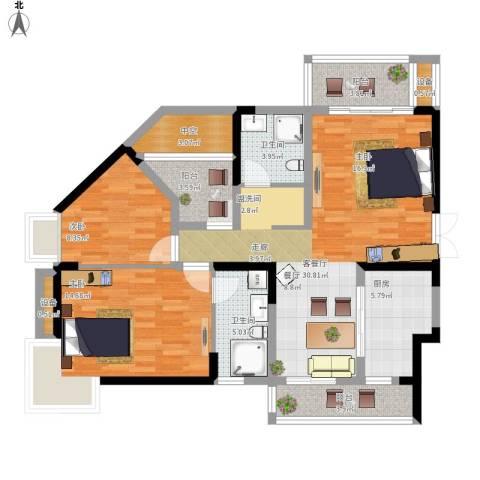 高尔夫国际花园2室1厅2卫1厨125.00㎡户型图