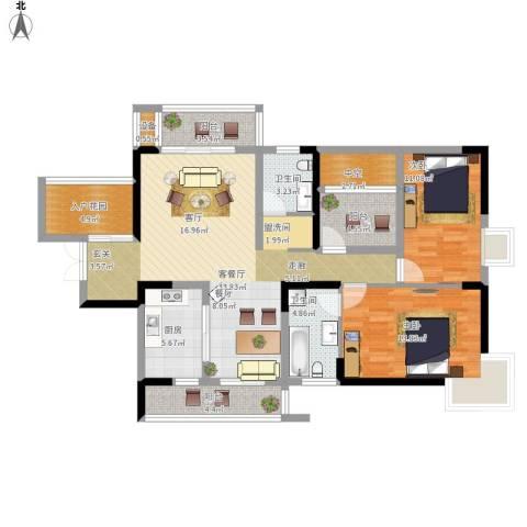 高尔夫国际花园2室1厅2卫1厨137.00㎡户型图