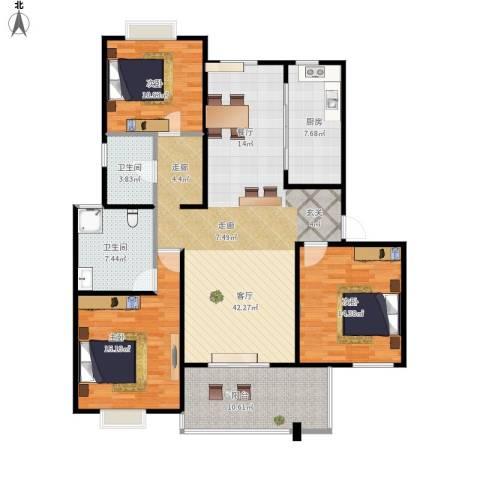 高尔夫国际花园3室1厅2卫1厨153.00㎡户型图