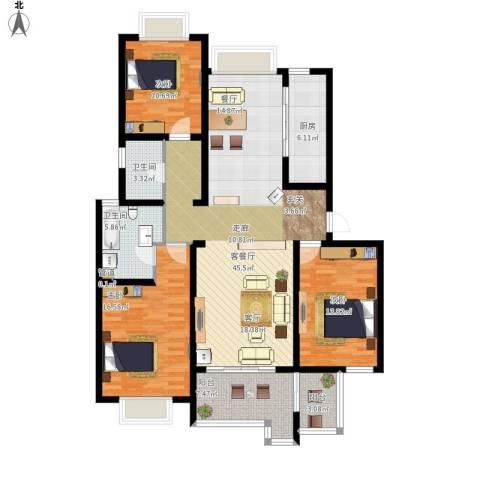 高尔夫国际花园3室1厅2卫1厨161.00㎡户型图