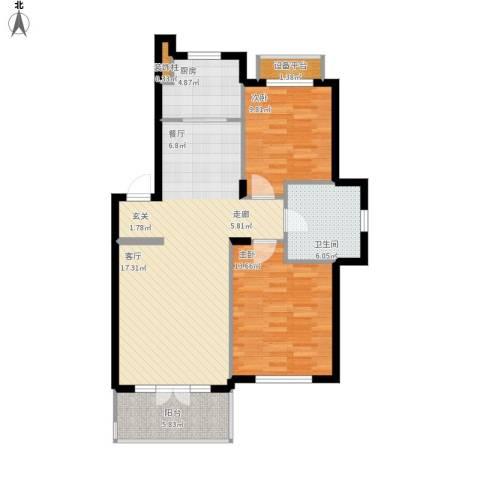 加州海岸2室1厅1卫1厨103.00㎡户型图