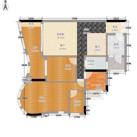 珠江帝景苑3室0厅2卫1厨118.00㎡户型图