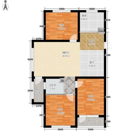 万嘉国际3室1厅1卫1厨126.00㎡户型图