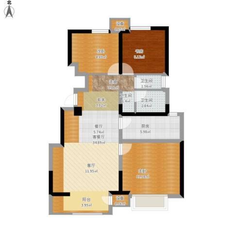 宝龙城3室1厅2卫1厨112.00㎡户型图
