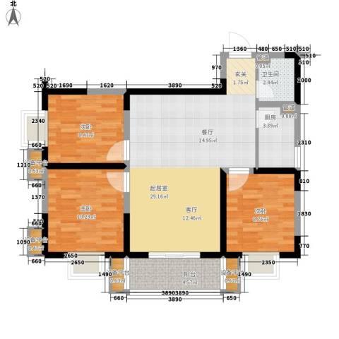 幸福美地3室0厅1卫1厨99.00㎡户型图