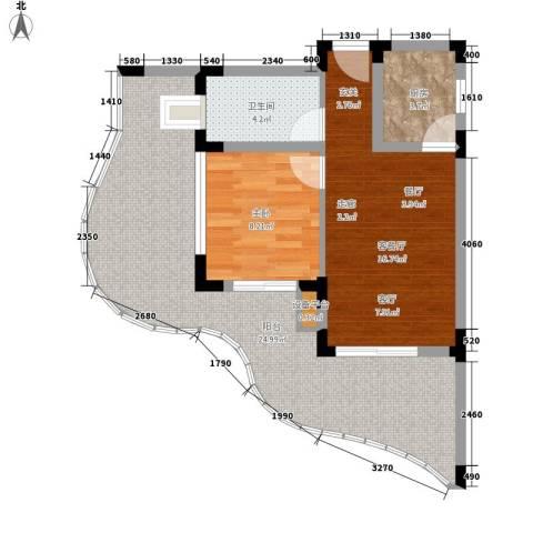 白金海岸1室1厅1卫1厨58.16㎡户型图