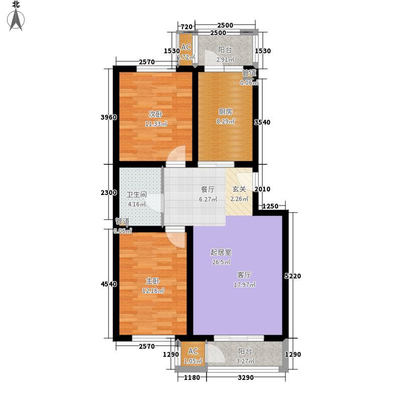 恒益隆庭92.79㎡一期37号楼标准层C户型
