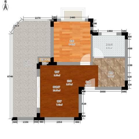 白金海岸1室1厅1卫0厨51.93㎡户型图
