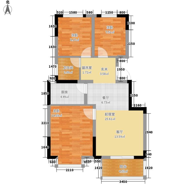 荣盛阿尔卡迪亚91.00㎡13-2--三面积9100m户型
