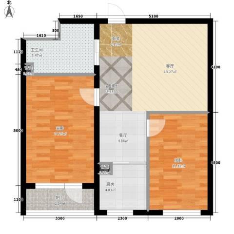 万嘉国际2室1厅1卫1厨89.00㎡户型图