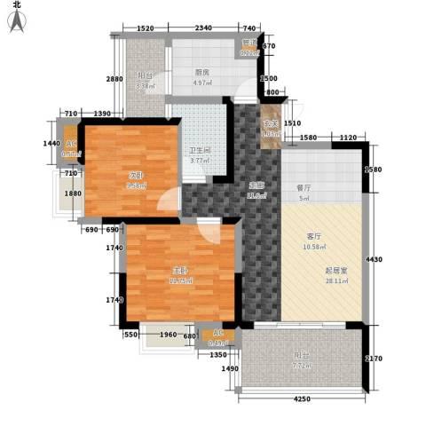西江月2室0厅1卫1厨84.00㎡户型图