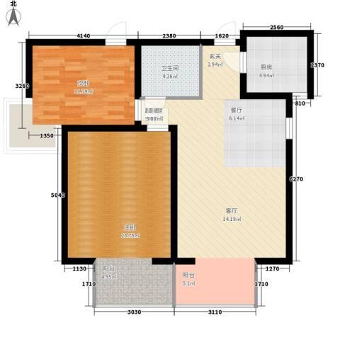 嘉实泊岸2室0厅1卫1厨87.00㎡户型图