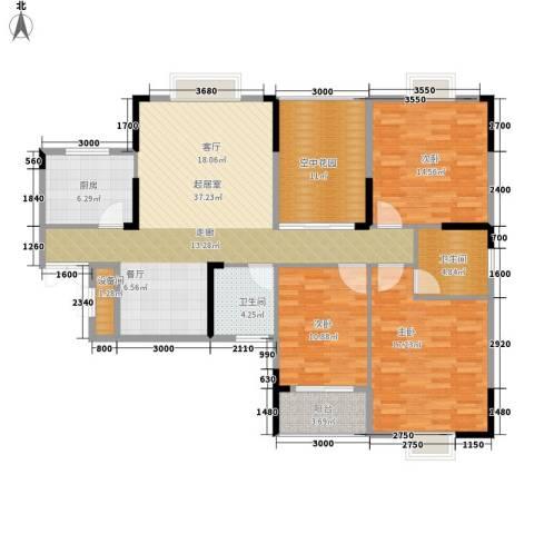 鑫远逸园3室0厅2卫1厨131.00㎡户型图