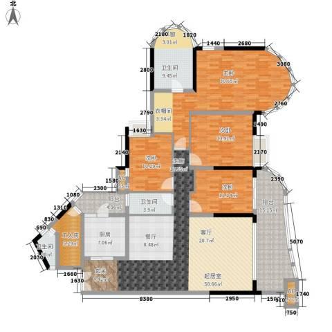 珠江帝景苑4室0厅3卫1厨171.00㎡户型图