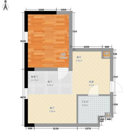 宝利国际广场云观公寓1室1厅1卫0厨63.00㎡户型图