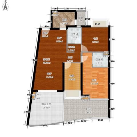 白金海岸3室1厅2卫1厨106.00㎡户型图