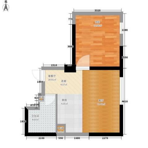 宝利国际广场云观公寓1室1厅1卫0厨59.00㎡户型图