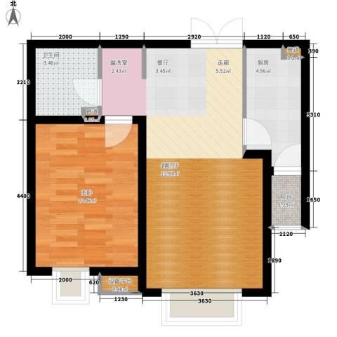 宝利国际广场云观公寓1室1厅1卫1厨70.00㎡户型图