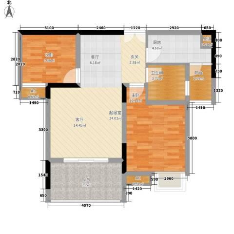 欧鹏K城2室0厅1卫1厨92.00㎡户型图