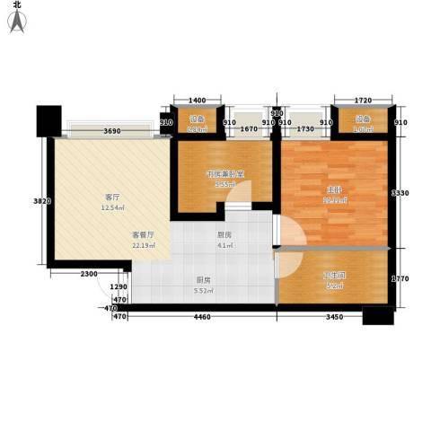 亚太商谷1室1厅1卫0厨44.96㎡户型图