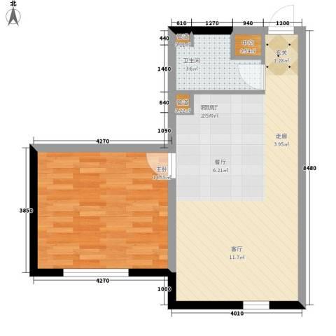 宝利国际广场云观公寓1室1厅1卫0厨73.00㎡户型图