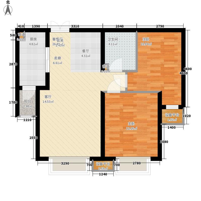 宝利国际广场云观公寓90.88㎡一期6号楼标准层B户型