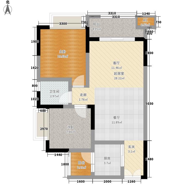 恒春凤凰城81.53㎡一期6、9号楼标准层H5户型