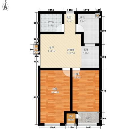 钱隆学府2室0厅1卫1厨85.00㎡户型图