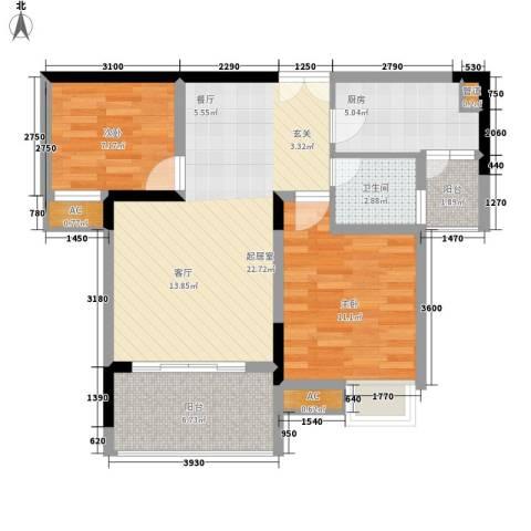 欧鹏K城2室0厅1卫1厨86.00㎡户型图