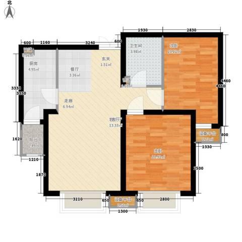 宝利国际广场云观公寓2室1厅1卫1厨89.00㎡户型图