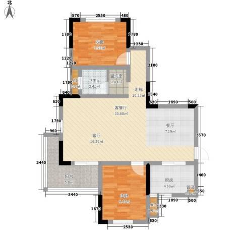 湘核佳苑2室1厅1卫1厨100.00㎡户型图