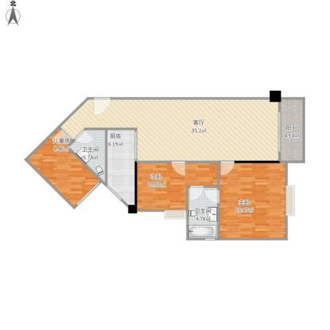平苑小区3室1厅2卫1厨121.00㎡户型图