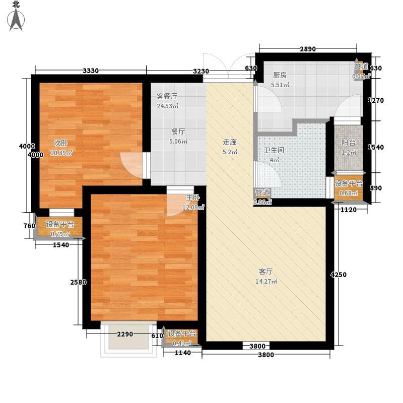 宝利国际广场云观公寓87.60㎡一期4号楼标准层B户型