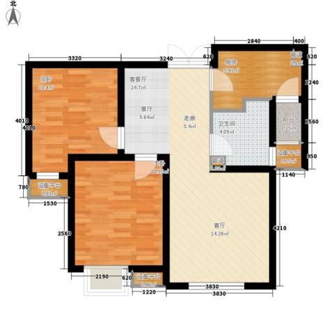 宝利国际广场云观公寓2室1厅1卫1厨87.00㎡户型图