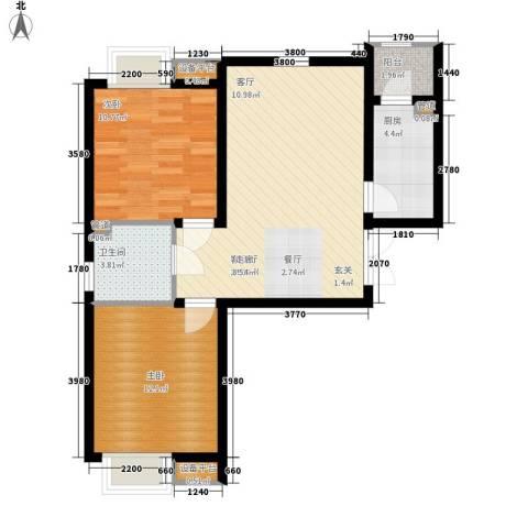 宝利国际广场云观公寓2室1厅1卫1厨88.00㎡户型图
