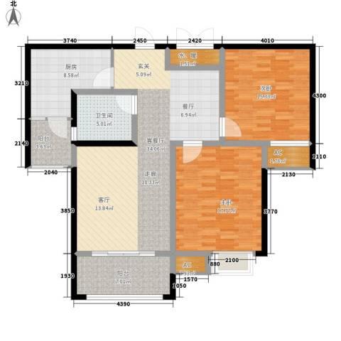 东岸2室1厅1卫1厨110.00㎡户型图