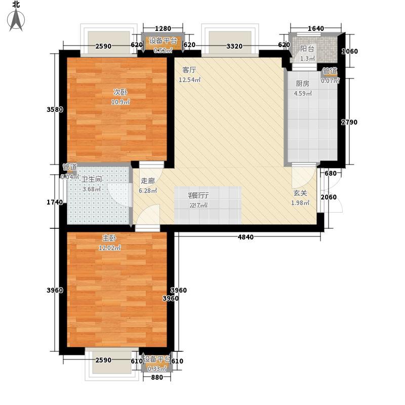 宝利国际广场云观公寓87.64㎡一期4号楼标准层A户型