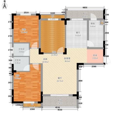 湘核佳苑3室0厅2卫1厨148.00㎡户型图