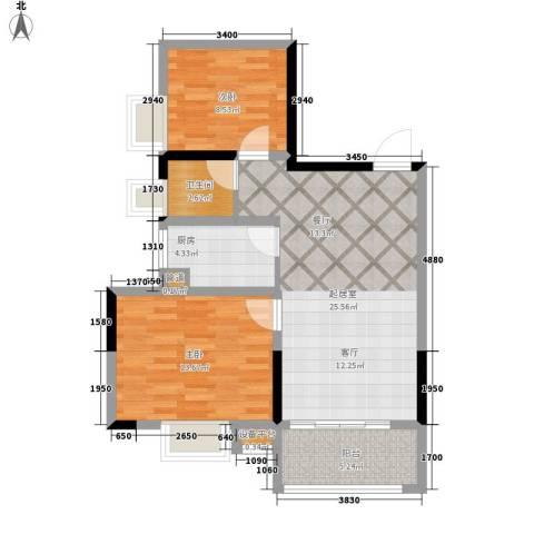 升远君尚嘉筑2室0厅1卫1厨87.00㎡户型图