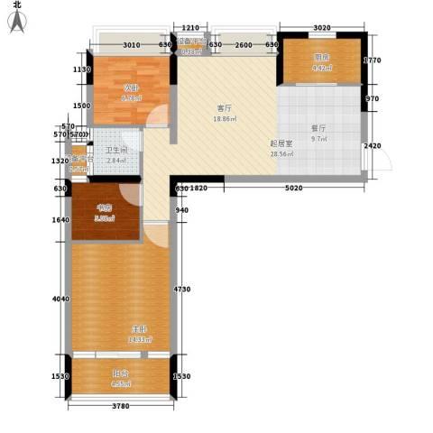 长大彩虹都3室0厅1卫1厨90.00㎡户型图